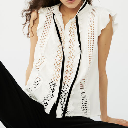 Embroidered crepe top : Tops & T-Shirts color Ecru