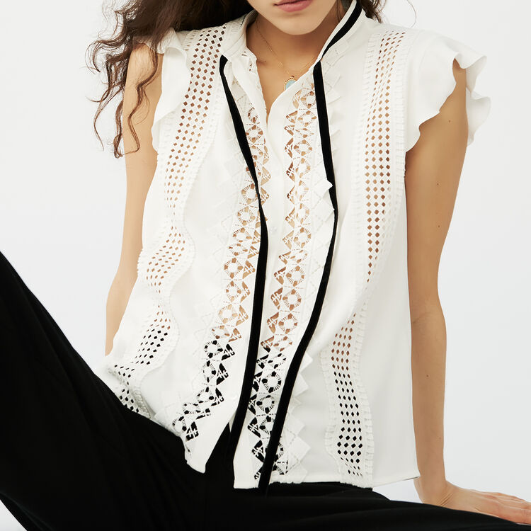Embroidered crepe top : Tops & Shirts color Ecru