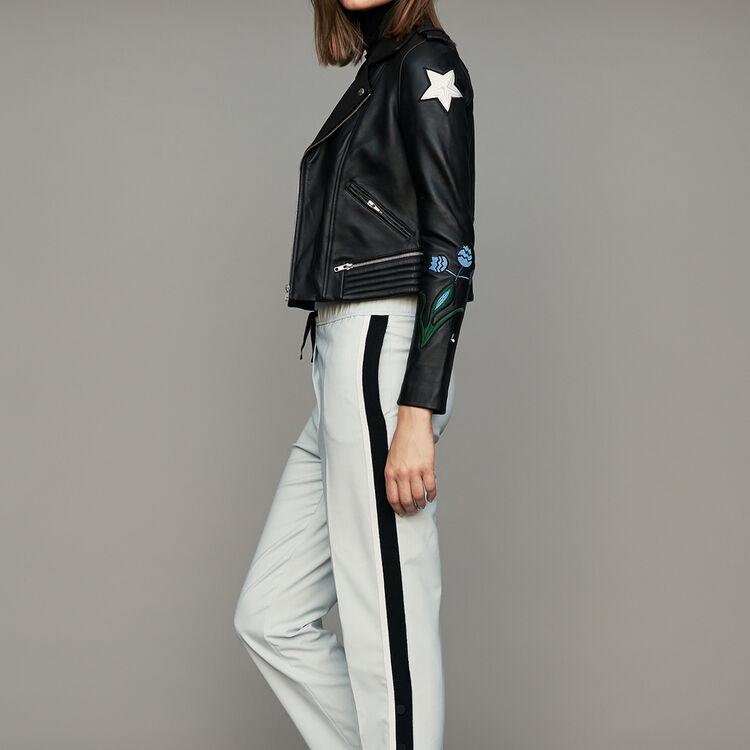 Elastic waist pants with side stripes : 30% Off color Blue Sky