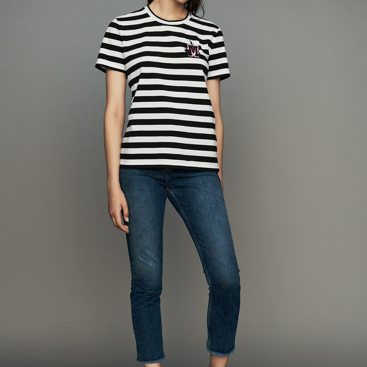 Striped cotton T-shirt with crest : Tops & Shirts color Stripe