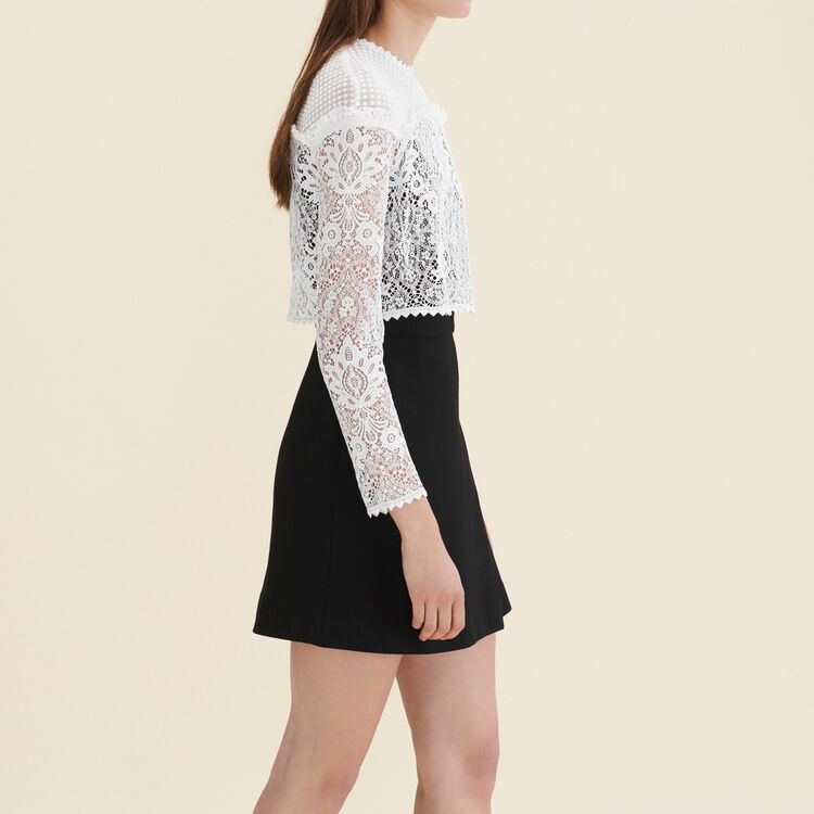 Mixed fabric dress : Dresses color Off White
