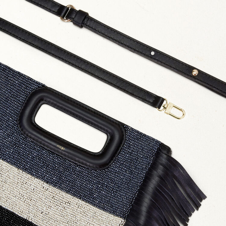 Sheepskin M bag with beads : Shoes & Accessories color Navy