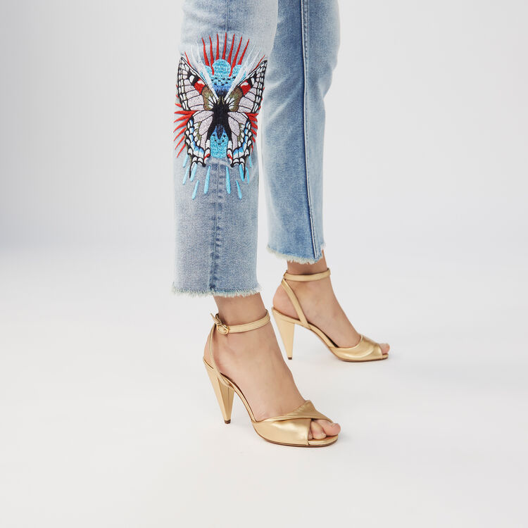 Embroidered flare jeans : Pants & Jeans color Denim