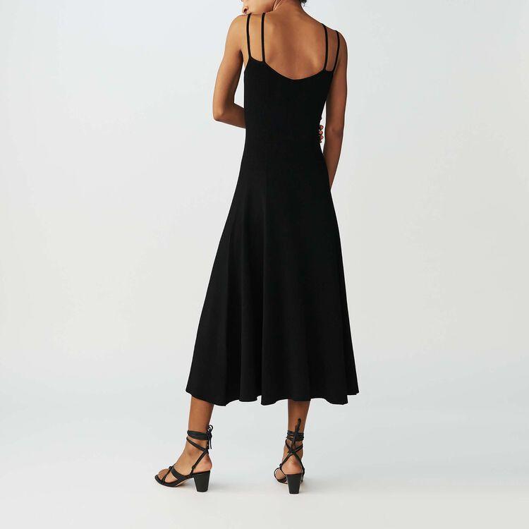 Long knit dress with stripes : Dresses color Black 210