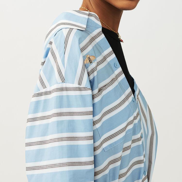 Oversized shirt dress in striped cotton : Dresses color Blue Sky