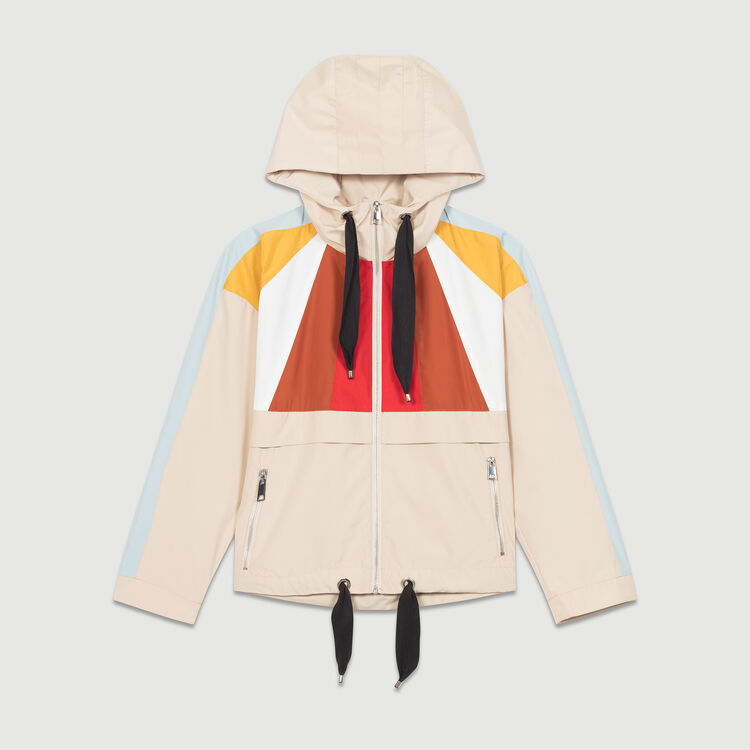 Cropped multicolored parka : Coats & Jackets color Beige