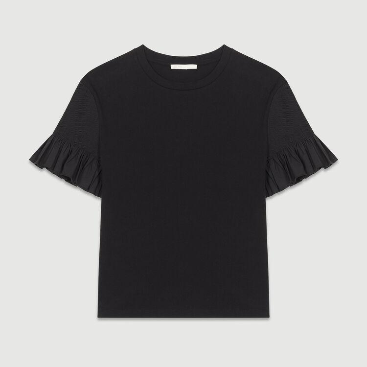 Cotton flounce t-shirt : Tops & Shirts color Black 210