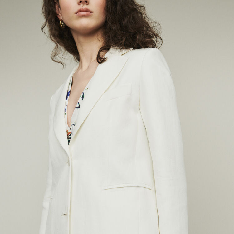 Suit jacket in wool blend : Coats & Jackets color White
