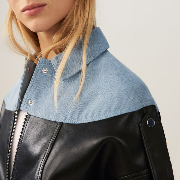 Leather and denim jacket : Pre-collection color Black 210