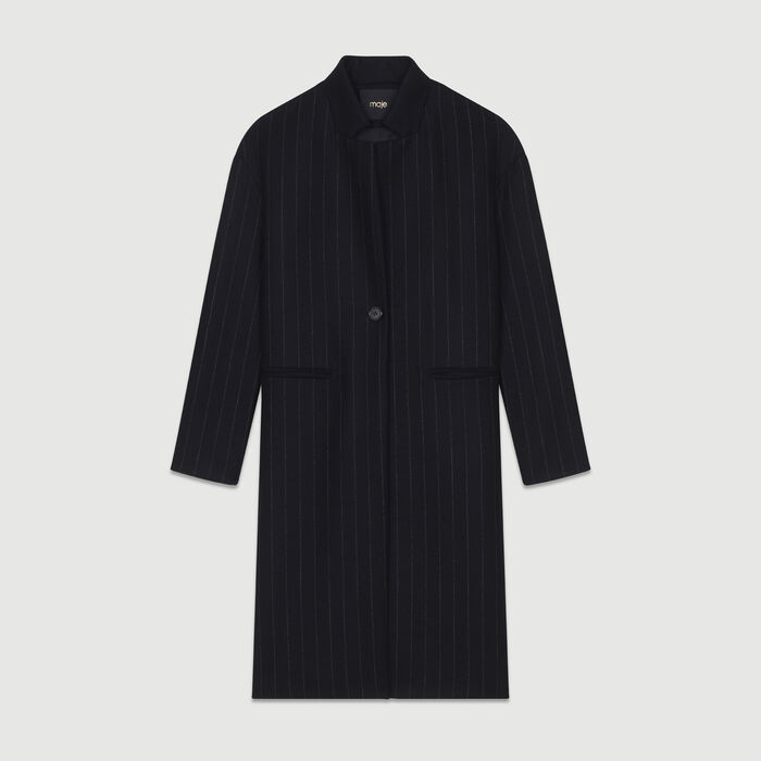Straight coat with thin stripes : Coats & Jackets color