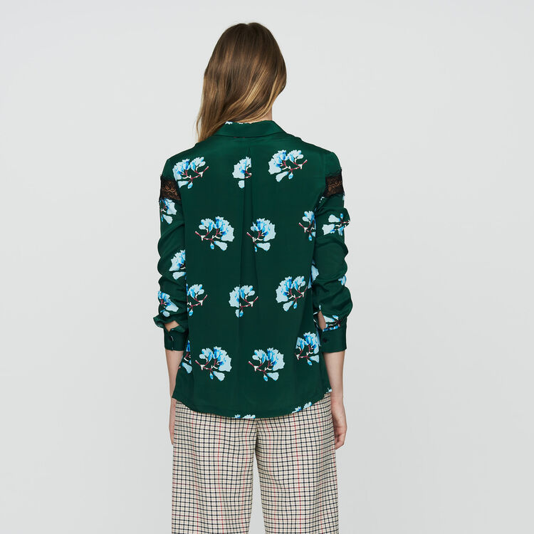 Printed blouse with lace : Tops & T-Shirts color Print