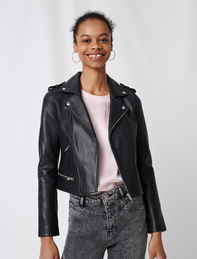 Leather biker jacket - The Essentials - MAJE