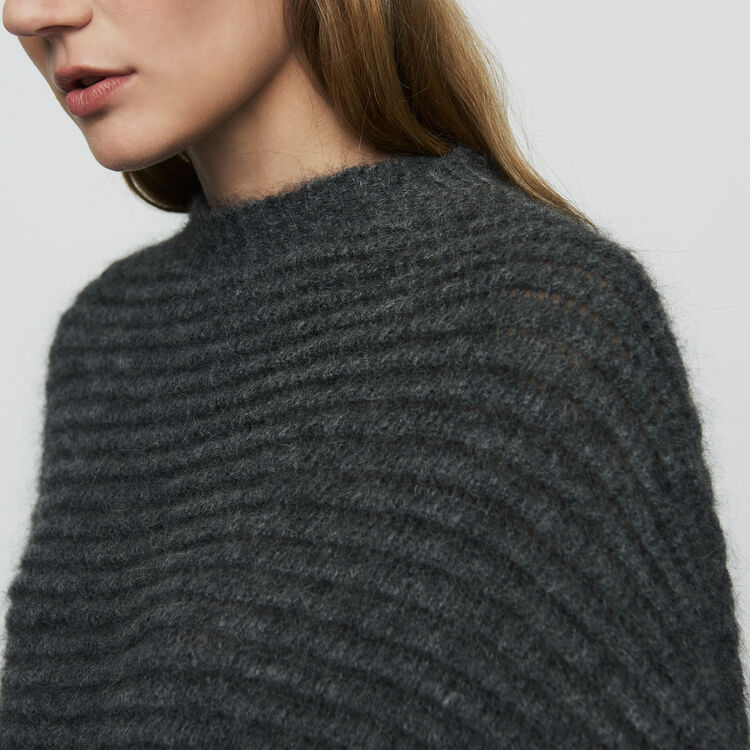 Cropped oversize sweater : Sweaters color Grey