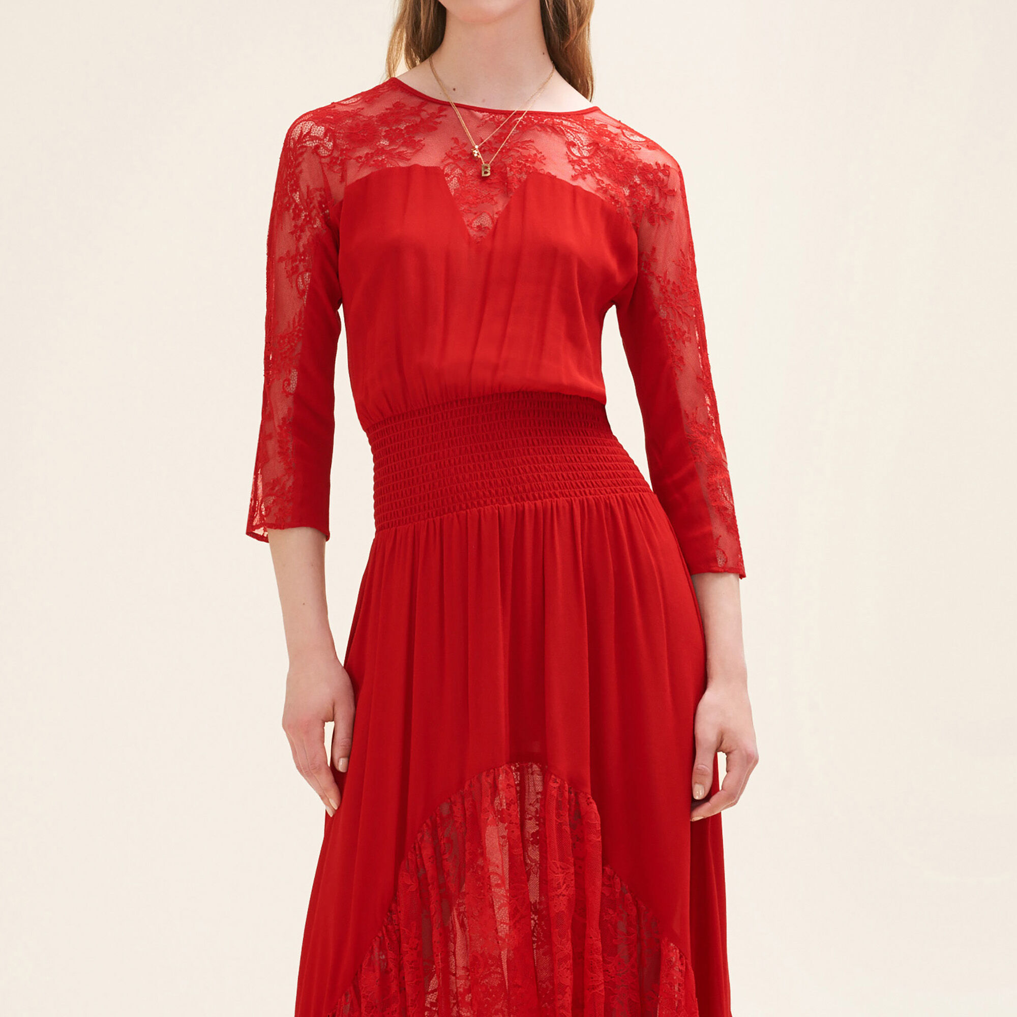 Red long dress with sleeves
