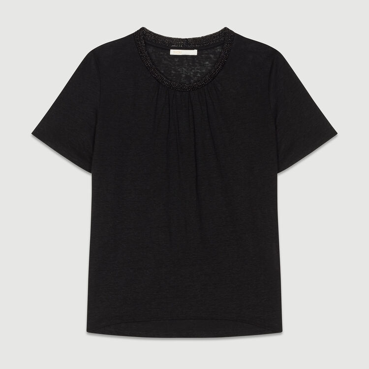 Linen t-shirt with crochet collar : Tops & T-Shirts color Black 210