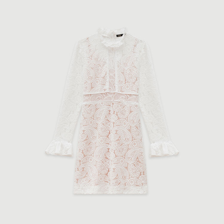 Short guipure lace dress : Dresses color Ecru