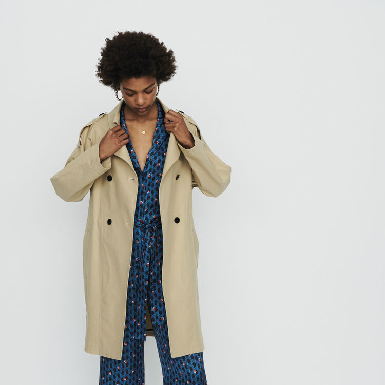 Short trench in cotton canvas : Coats & Jackets color Beige