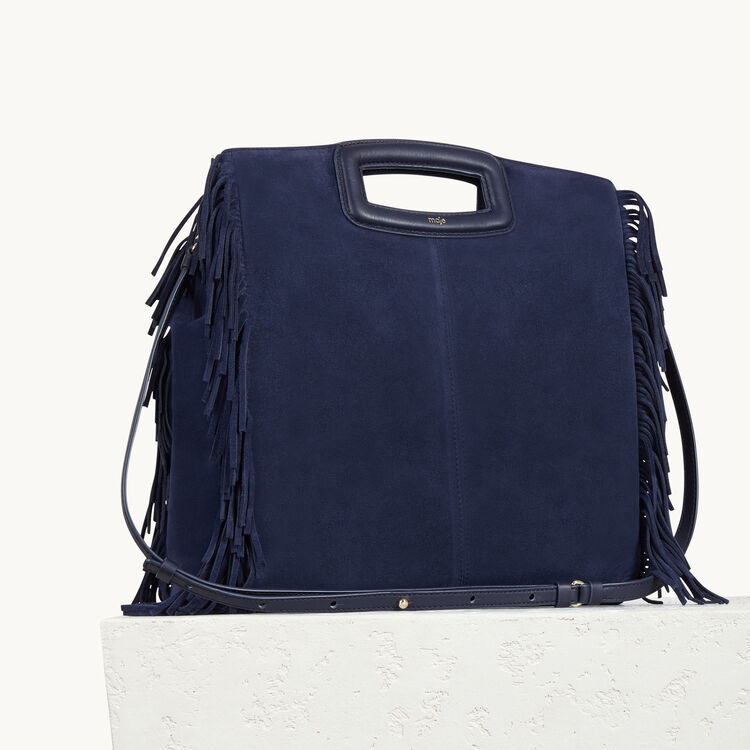 Suede leather bag with fringing : Bags color