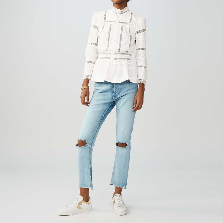 Embroidered poplin blouse : Tops & T-Shirts color White