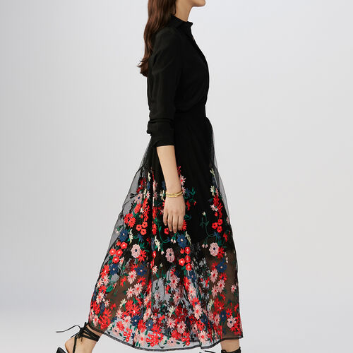 Embroidered tulle skirt : Skirts & Shorts color Black 210