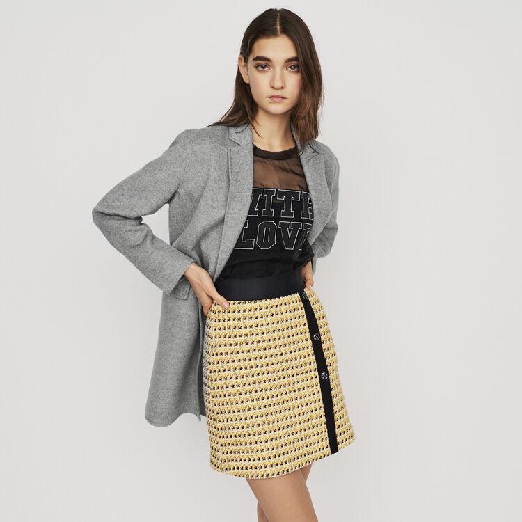 Mid-length double-faced coat : Coats & Jackets color Grey