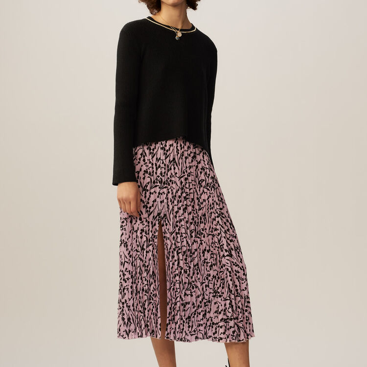 Fine-knit cotton blend sweater : Sweaters color Black 210