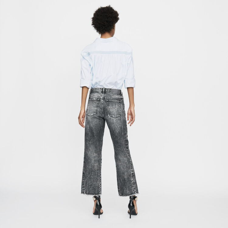 Wide leg distressed jeans : Pants & Jeans color Grey