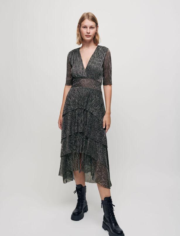Maje Floaty lame dress with ruffles
