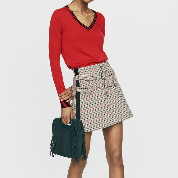 Fine knit merino wool sweater : Sweaters color Red