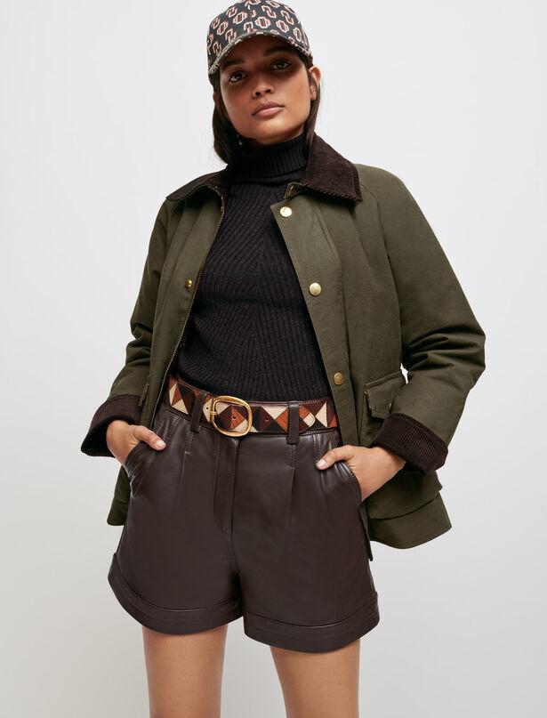 마쥬 램스킨 가죽 반바지 MAJE Lambskin leather shorts,Brown