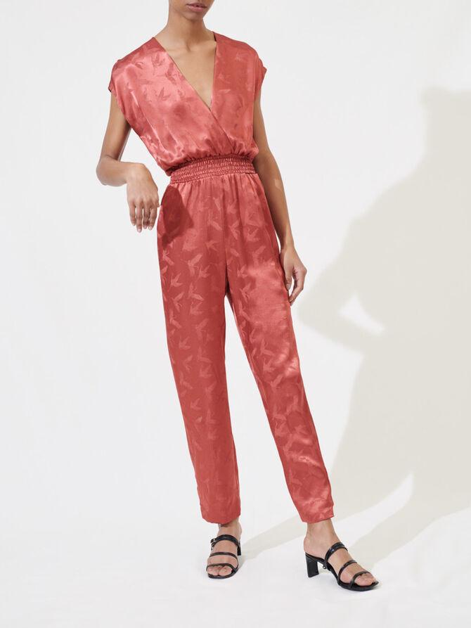 Silky jacquard jumpsuit - Pants & Jeans - MAJE