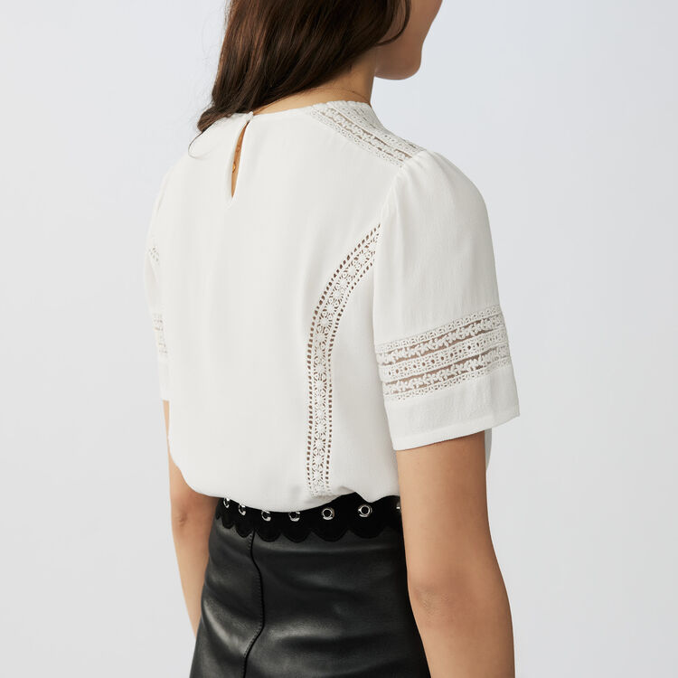 Embroidered ajour stitching top : Tops & Shirts color Ecru