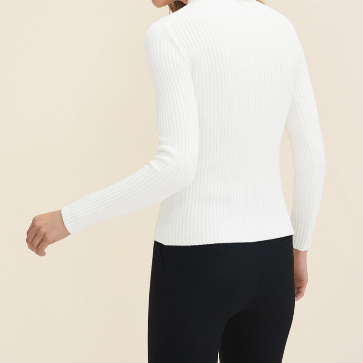 Stretch-knit thin jumper : null color