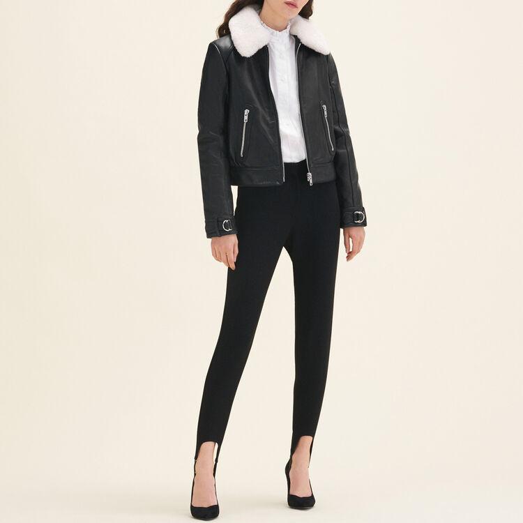 Sheepskin collar aviator jacket : Coats & Jackets color Black 210