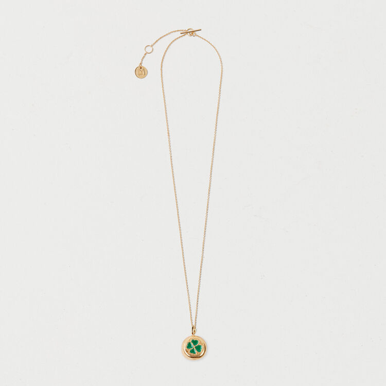 Four-leaf clover necklace : Shoes & Accessories color GOLD