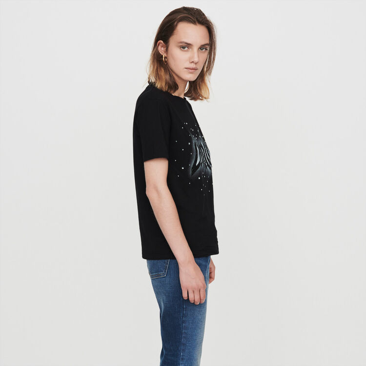 Silk screen printed strass t-shirt : Tops & T-Shirts color Black