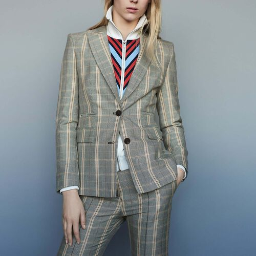 Checked jacket with shoulder pads : Coats & Jackets color CARREAUX