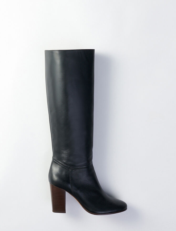 Heeled smooth leather boots -  - MAJE