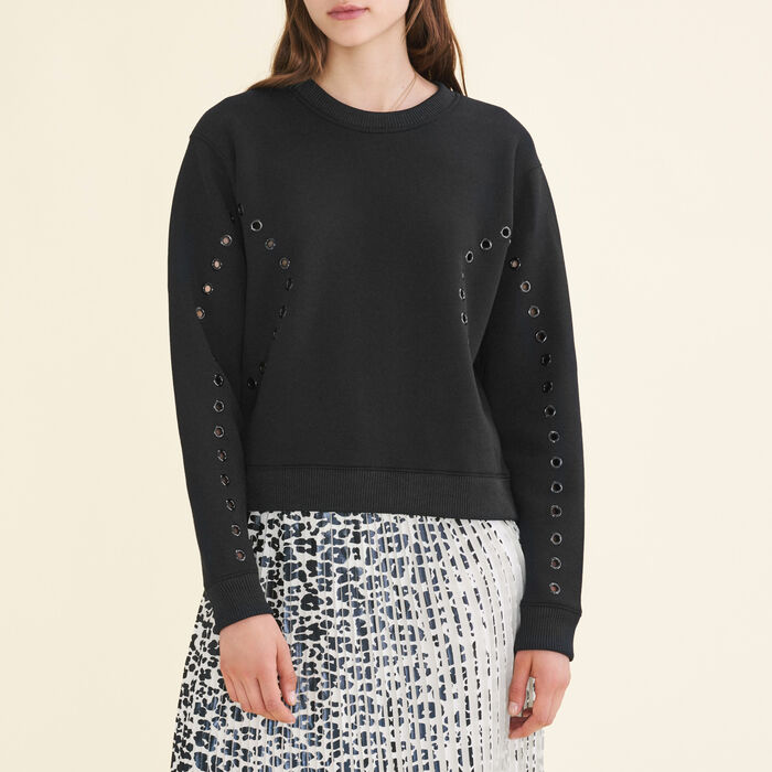 Sweatshirt with eyelets -  - MAJE