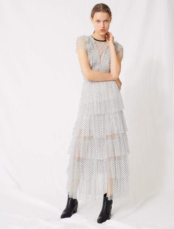 Long dress in swiss-dot tulle - Dresses - MAJE