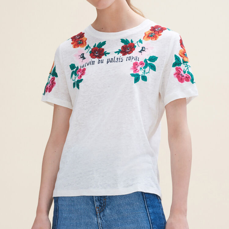 Embroidered T-shirt : Tops & T-Shirts color Ecru
