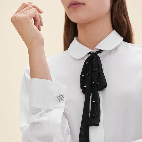Silk blouse with tulle tie  : Tops & T-Shirts color White