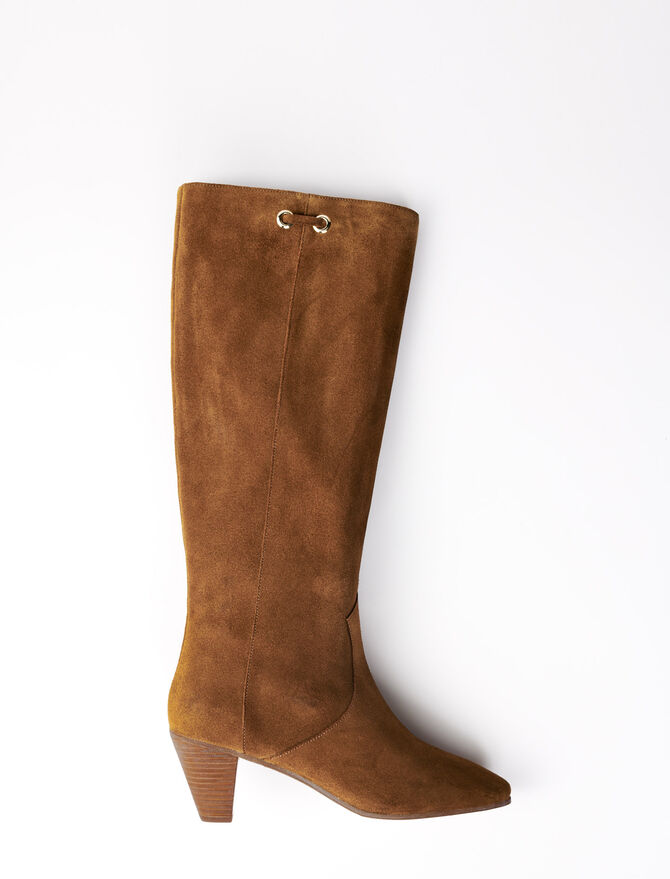 Brown suede sock boot -  - MAJE