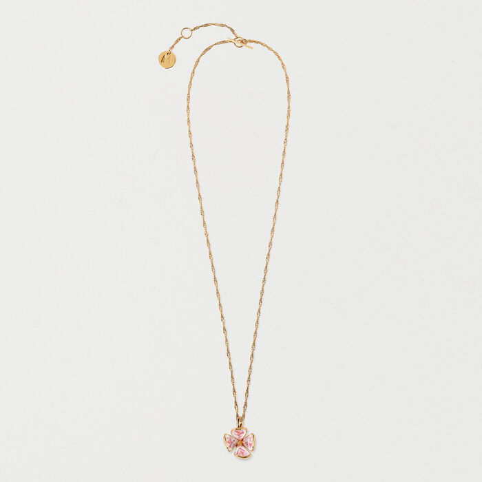 Pink flower necklace : Shoes & Accessories color GOLD