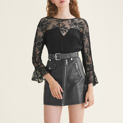 Floaty lace top : Tops & T-Shirts color Black 210