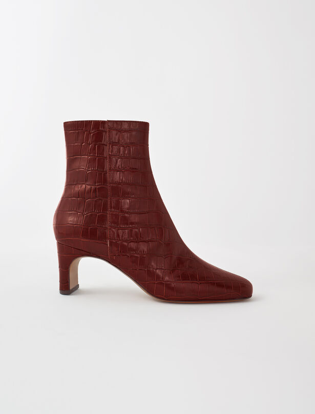 마쥬 MAJE Croc-effect embossed leather boots,Cognac