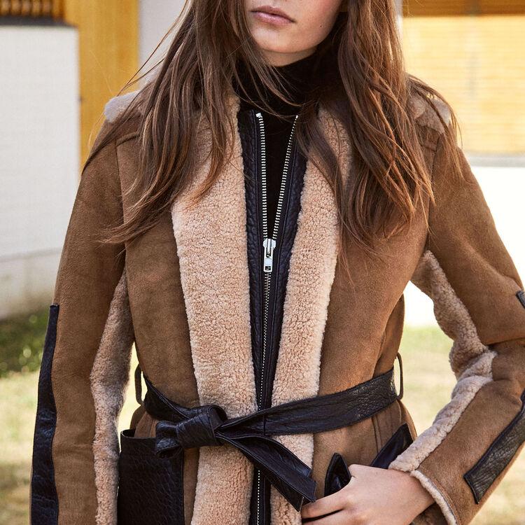 Sheepskin coat : Coats & Jackets color Caramel