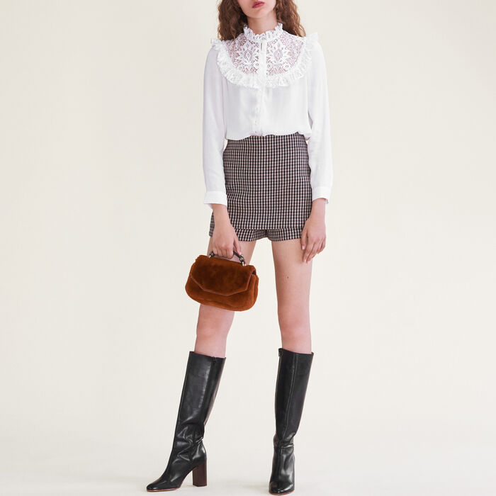 Blouse with lace insets on the chest : null color