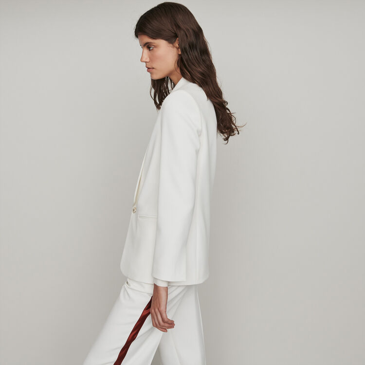 Straight-cut buttoned shawl lapel jacket : Coats & Jackets color Ecru