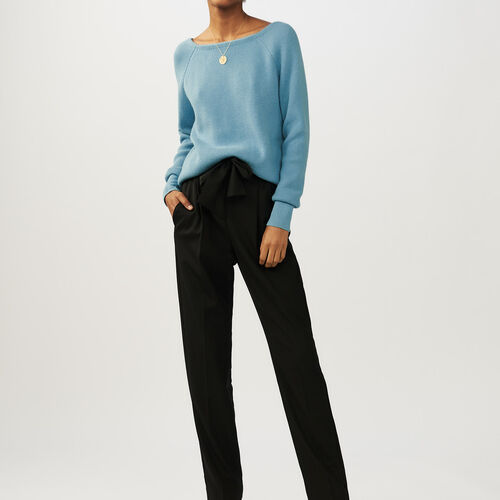 Sweater with back crossbelt : Sweaters color Blue Sky